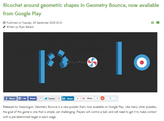 "Geometry Bounce featured on Google Play ""Top new games"" and on droidgamers.com"